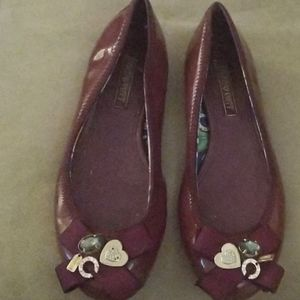Discontinued patent leather Coach poppy flats